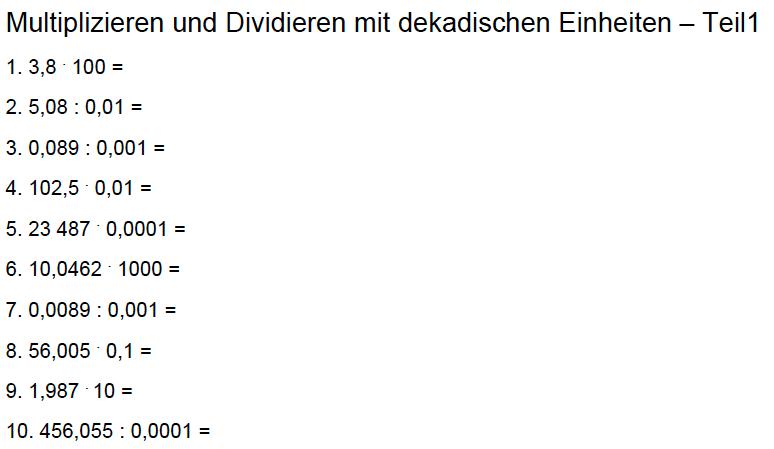 Dekadische Einheiten – Dezimalzahlen – Teil1 | Math-Training